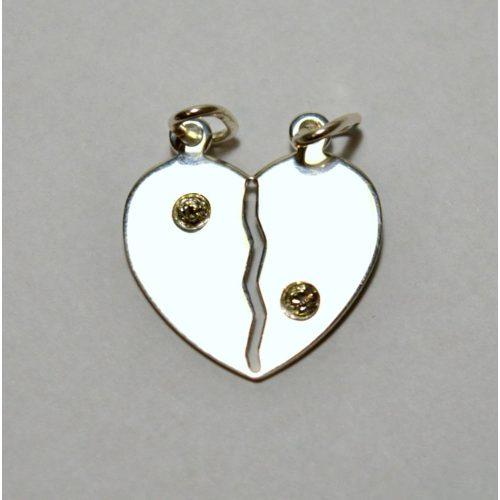 Ezüst kettétörhető szív medál - köves