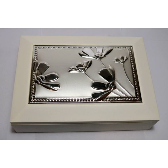 Virágos, fa ékszertartó doboz - fehér